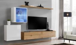 Meuble tv mural blanc chene