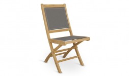 Chaise jardin teck toile grise