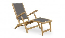 Chaise longue teck toile grise