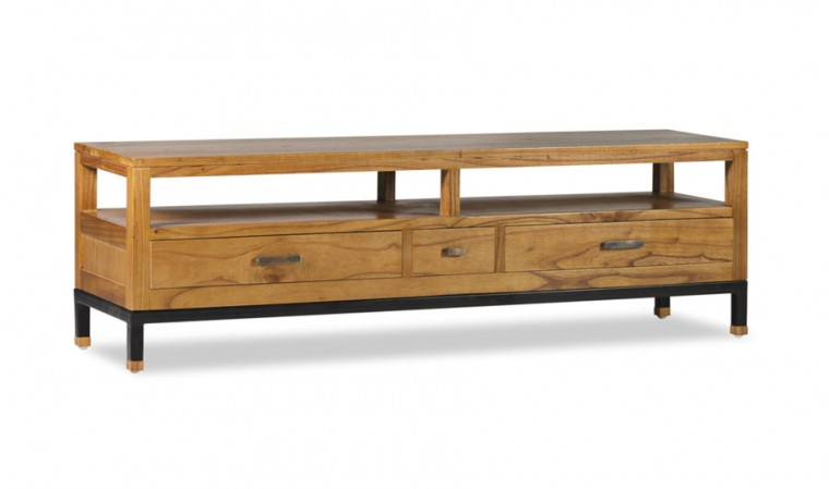 Meuble TV 3 tiroirs en mindi et acier...