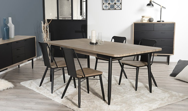 Table Salle A Manger En Acacia Massif Et Metal 200 X 100 Cm