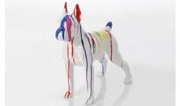 Statue boxer chien blanc 50 cm
