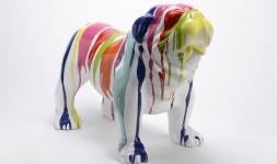 Statue bulldog américain trash blanc