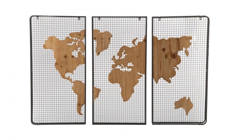 Cadre tritpyque carte monde