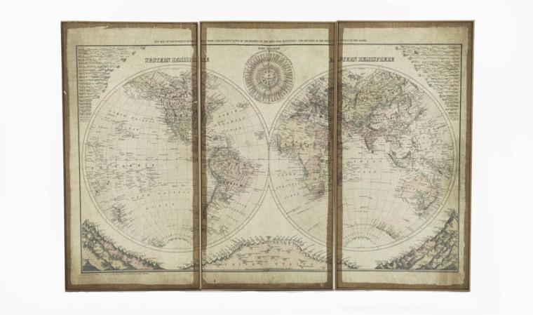 Triptyque planisphère monde 80 x 120 cm