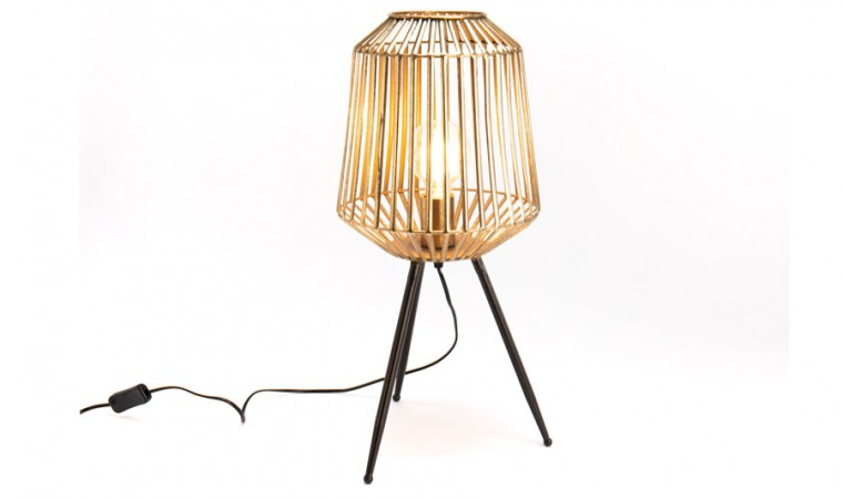Petite lampe table métal doré