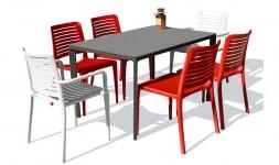 Ensemble table chaises fauteuils