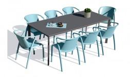 Ensemble table anthracite fauteuils aquamarine