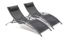 Lot 2 chaises longues alu textilène