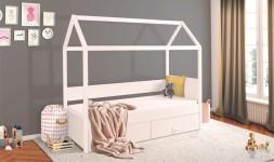Lit cabane blanc 90 x 200