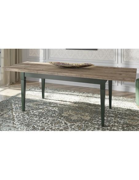 Table extensible chêne et vert Boavista