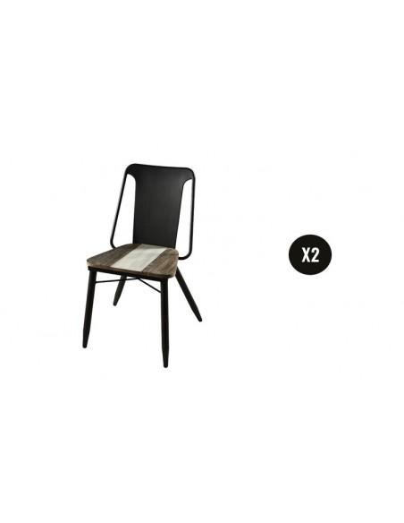 Lot de 2 chaises acacia