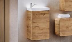Petit meuble vasque suspendu chêne avec vasque