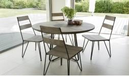 Salon jardin rond en teck 4 chaises