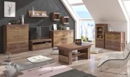 Salon complet bois foncé