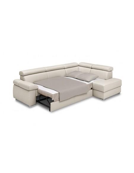 Canapé d'angle convertible en cuir avec coffre rangement