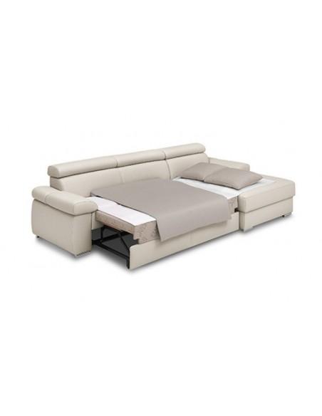 Canapé d'angles en cuir de vachette convertible