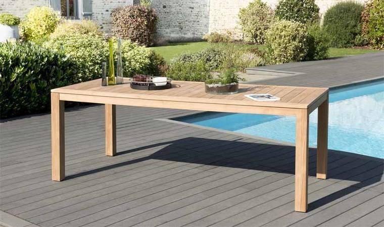 Table de jardin rectangulaire en teck