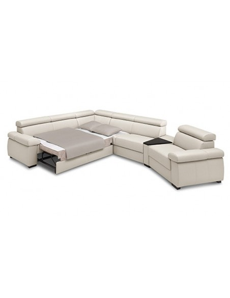 Canapé d'angle en cuir convertible et modulable