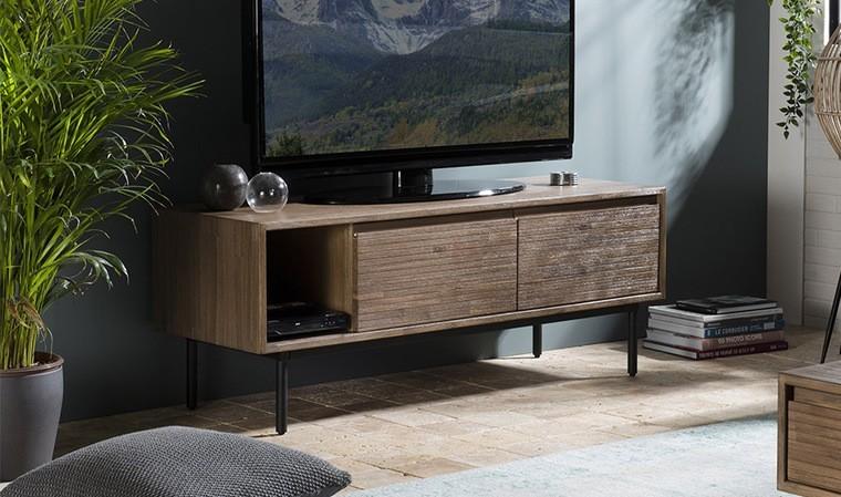 Meuble TV rétro en acacia
