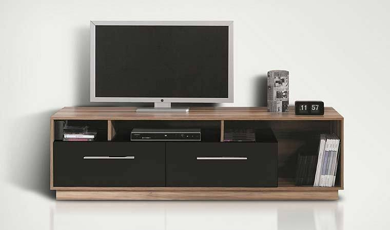 meuble tv bas meuble tl design noir et noyer pas cher. Black Bedroom Furniture Sets. Home Design Ideas