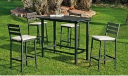 Bar de jardin anthracite 4 chaises