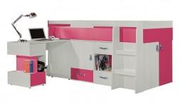 Lit mi-haut enfant combiné rose avec bureau