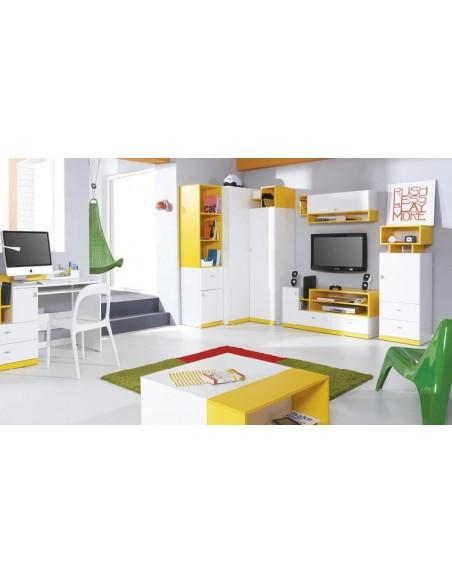 armoire angle jaune