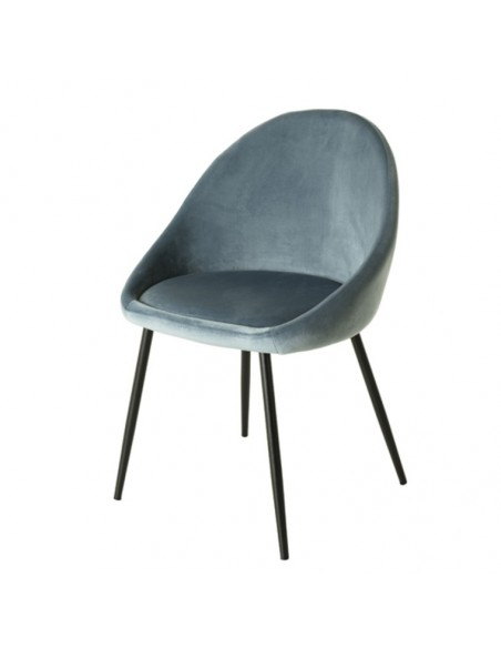 chaise velours bleu