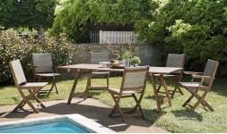 Salon jardin avec fauteuils pliants