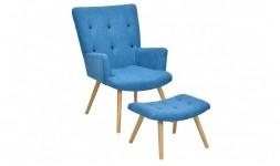 fauteuil bleu repose-pieds