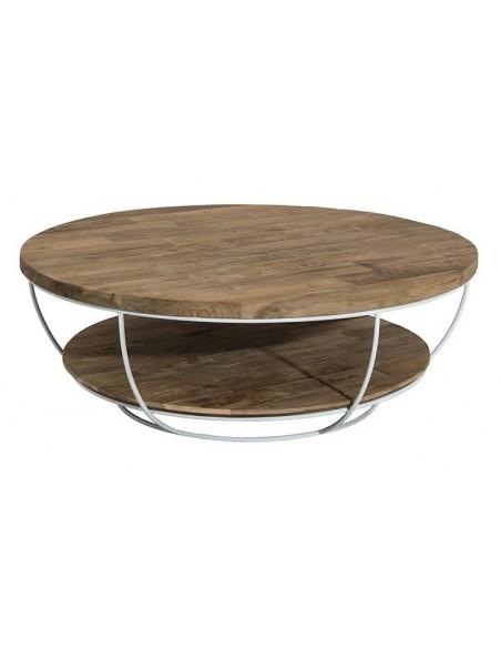 Table basse ronde sous plateau teck
