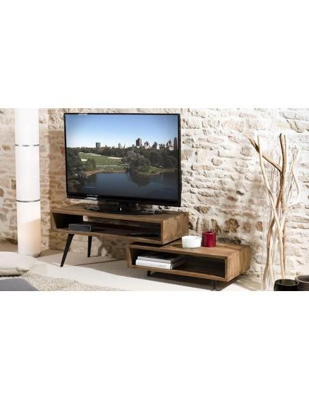 Meuble tv pivotant en teck recyclé