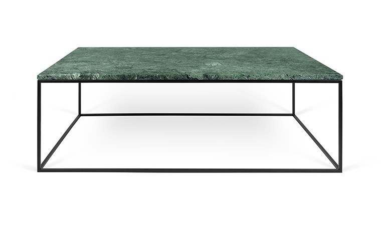 table basse plateau en marbre vert guatemala et pieds en acier noir. Black Bedroom Furniture Sets. Home Design Ideas