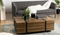 Table basse roulettes teck