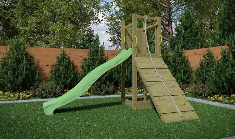 bac sable toboggan et mur d 39 escalade aire de jeux en bois. Black Bedroom Furniture Sets. Home Design Ideas