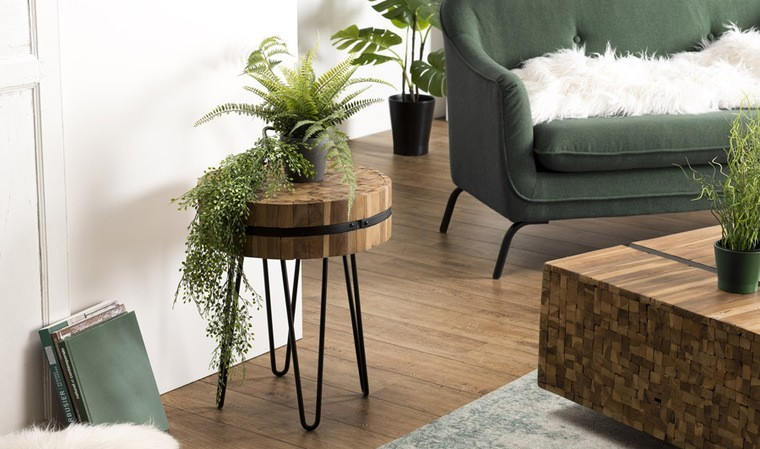 Table d'appoint ronde teck