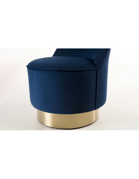 Fauteuil velours bleu marine
