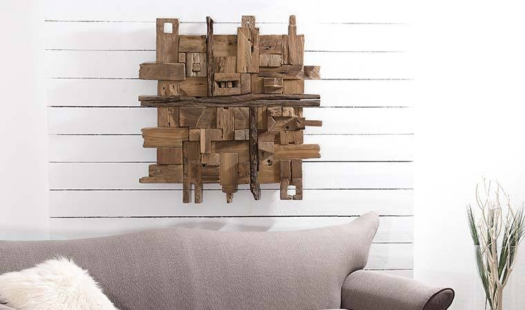 d coration murale design en bois de teck tendance naturel. Black Bedroom Furniture Sets. Home Design Ideas