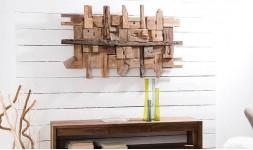 Déco murale rectangulaire en bois de teck