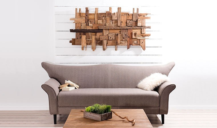 tableau mural en bois de teck rectangulaire et design. Black Bedroom Furniture Sets. Home Design Ideas