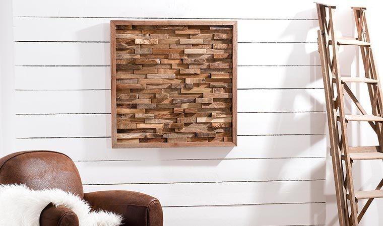 tableau carr design en bois de teck teck 39 ort. Black Bedroom Furniture Sets. Home Design Ideas