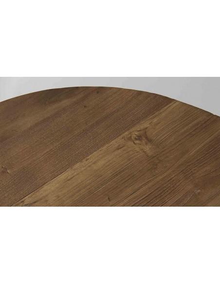 Table basse ronde en teck recyclé