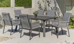 Salon de jardin repas 6 fauteuils