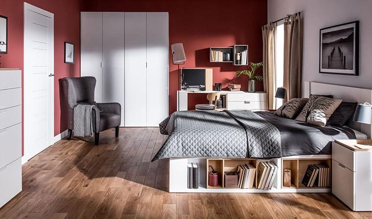 lit design blanc avec sommier coffre rangement 160 x 200 cm 4you. Black Bedroom Furniture Sets. Home Design Ideas