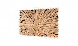 Décoration murale rectangulaire design en bois flotté de teck