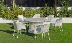 Salon de jardin blanc rond