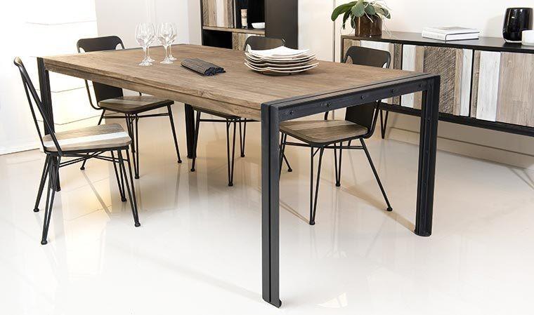 Table Industrielle En Teck Et Metal 200 Cm Bois Massif