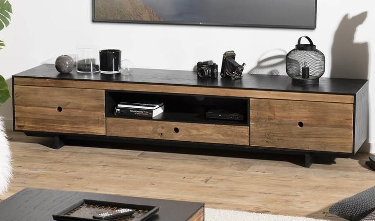 meuble tv pin recycle 3 tiroirs oscar