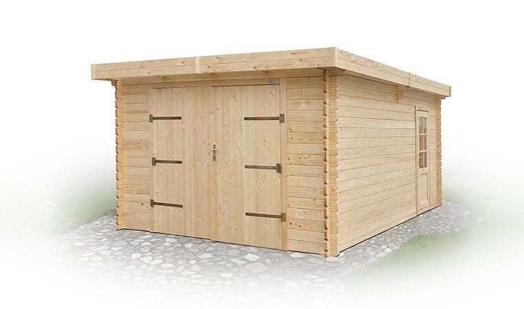 Garage ferm en bois massif 20m2 porte garage et porte de service